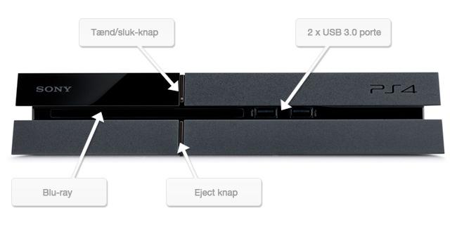 PlayStation 4 set forfra, hvor man kan se de to USB 3.0 porte, Blu-ray drevet og tænd/sluk knapperne.