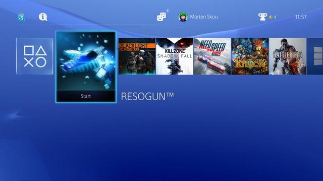 Billedet viser PlayStation 4s brugergrænseinterface, hvorfra man kan tilgå alle de forskellige spil og funktioner.